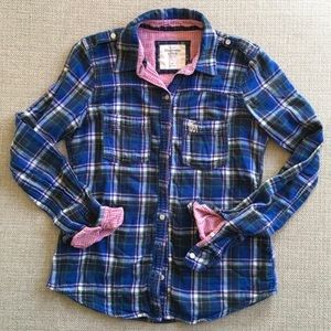 Abercrombie & Fitch flannel blue pink green S/M